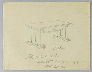 Drawing, Design for Oak Library Table #41485 with Four Plain Columnar Legs, 1900–05