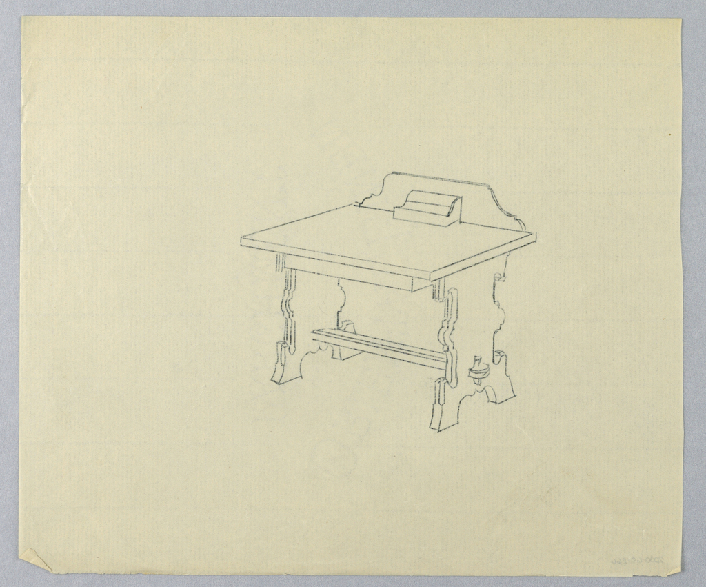 Drawing, Design for Writing Table in the Mission Style with Carved Backboard