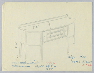 Sideboard on six straight tapered legs with rounded front corners; flat central section of tripartite front has three narrow horizontal drawers, each with a pair of round pulls; flanking sections of front each have narrow vertical drawers with single round pulls at centers; low backsplash at back of top.