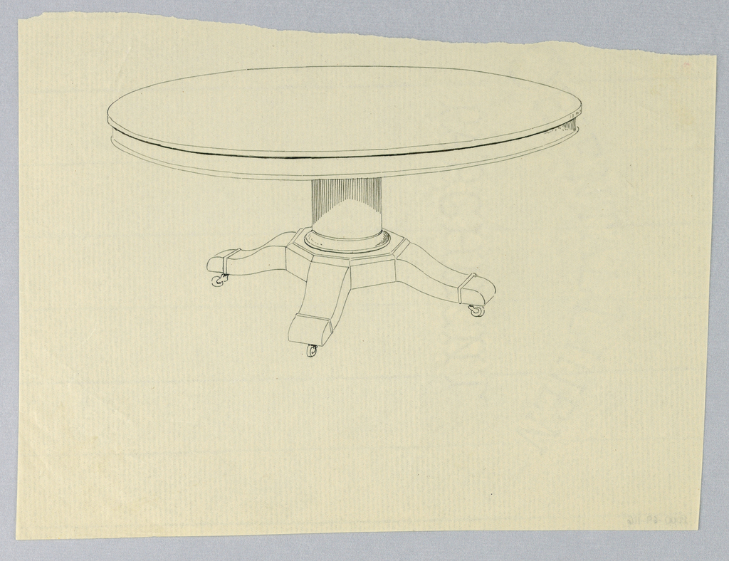 Round molded table top raised on plain column-like support sitting on molded base having four splayed legs on casters.