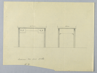 Drawing, Design for Rectangular Writing Table No. 4 in Two Views, 1900–05