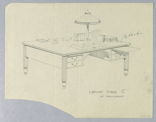"""Drawing, Design for Library Table """"C"""" of Mahogany, 1900–05"""