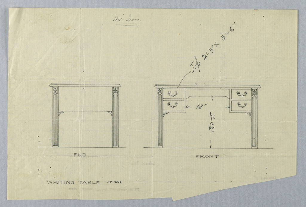 Drawing, Design for Writing Table for Mr. Dorn in Two Views