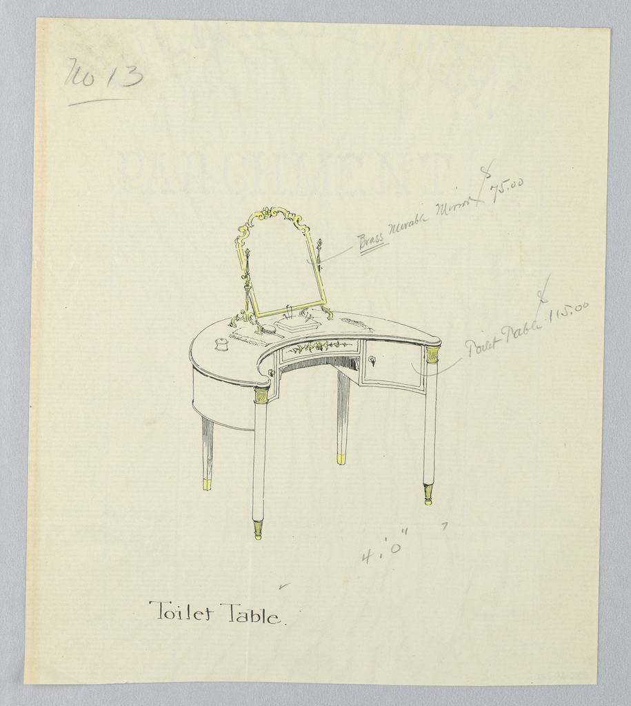 Drawing, Design for Toilet Table No. 13