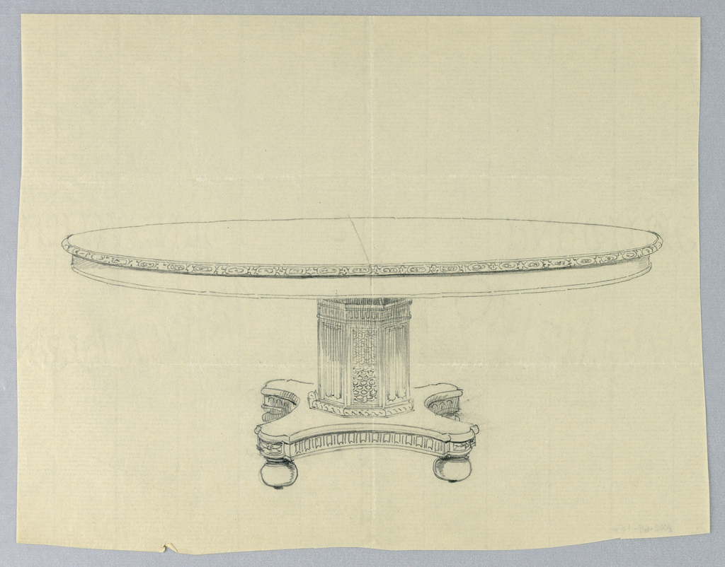 Drawing, Design for Round Table on Elaborate Base, 1900–05