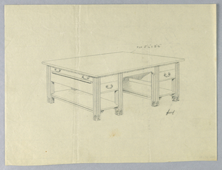 Drawing, Design for Massive Library Table #1 with Open Stretcher Shelves, 1900–05