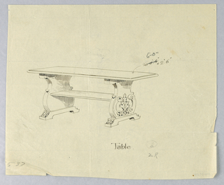"""Drawing, Design for Library Table """"b"""" with Carved, Solid, Scrolled Sides, 1900–05"""