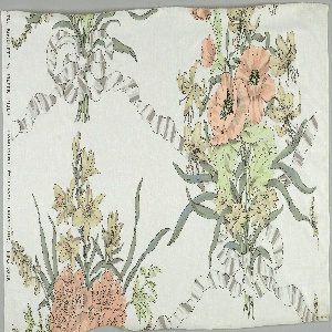 Large bouquets of pale poppies and lilies in shades of yellow, orange, greens and gray; gray ribbon bows connect to form lattice.