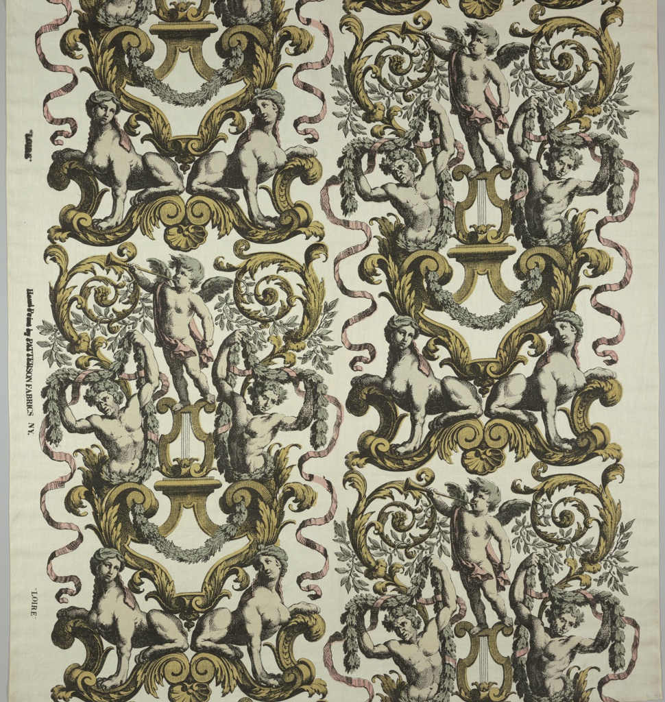 Large-scale symmetrical vertical repeat of cupids, sphinxes, volutes. Black outlines and hatching, tinted pink, yellow, gray and green in soft shades.