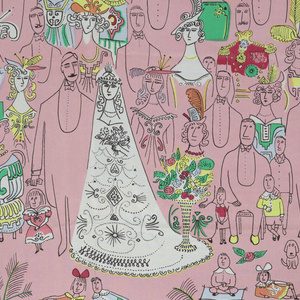 A cartoon of a wedding scene, with the bride and groom at center, surrounded by family members, with children in the foreground. In black on a pink ground.