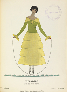 "Periodical, Vinaigre, robe de Paul Poiret (""Vinegar,"" dress by Paul Poiret), Gazette du bon ton : arts, modes & frivolités (Gazette of fashion: arts, modes & frivolities) 6e année, No. 10, plate 53, June, 1924"