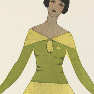 """Periodical, Vinaigre, robe de Paul Poiret (""""Vinegar,"""" dress by Paul Poiret), Gazette du bon ton : arts, modes & frivolités (Gazette of fashion: arts, modes & frivolities) 6e année, No. 10, plate 53, June, 1924"""