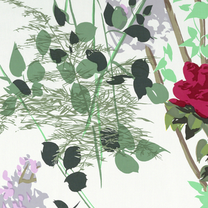Large-scale design of roses, lilacs and leaves in bright colors, predominantly red, lavender, yellow, blue and green on a white foundation.
