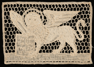The winged lion of St. Mark, solidly worked on an open mesh ground.