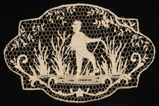 Scene of a boy standing in a pond gathering bulrushes. Used as an insert in a pillow. Components A and B are identical.