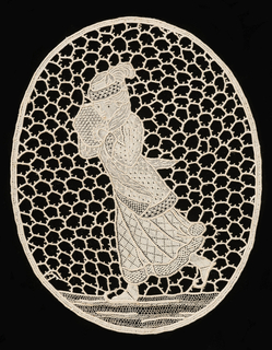 Oval shape with the figure of a woman skating.