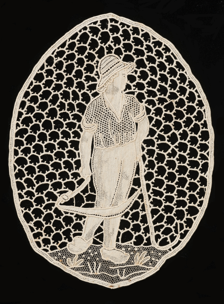 Oval shape of a man holding a scythe.