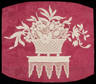 Design consists of a large basket filled with floral and foliated forms. The basket seems to have been cut from a large flounce to fit into the oval top of a mirror. Fond: brides bouclée; Modes: venises, portes, gaze quadrillée, Point Mignon, réseau mouché, St. Esprit avec rangs clairs.