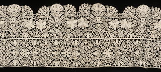 Scalloped border formed of insertion and edging in similar patterns, sewn together.  Design of small open flowers and scrolling stems or bands.
