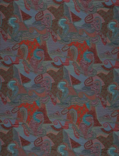Allover pattern of reds, blues, and purples of spirals and other biomorphic abstractions.