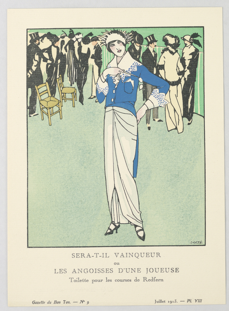 The caption reads: SERA-T-IL VAINQUEUR ou LES ANGOISSES D'UNE JOUEUSE / Toilette pour les courses de Redfern. Center a woman stands in a white evening dress with gathered pleats and a blue-tailed coat with whtie lace detailing. Atop her head sits a white spiked crown. Behind her stand a series of men and women all dressed in black and white formal wear.