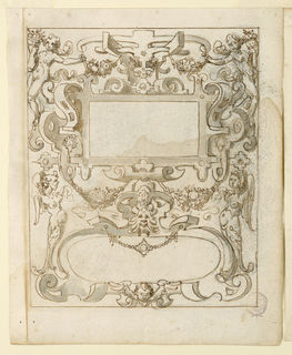 Strapwork with winged figures and putti frames a blank rectangular and oval panels.