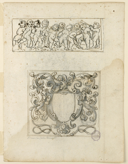 Vertical rectangle. A horizontal oblong with three dancing children. At right is one blowing into a trumpet. Below is a scrollwork frame of a [?] ovoid. On top is a helmet, whose mantling ends with ribbons and tassels. Two framing lines. Verso: Most of the right half is executed; the left one roughly outlined. Five persons, possibly all women, sit at a table in the open country. One of them raises a glass. At right is a tree, a house in the background.