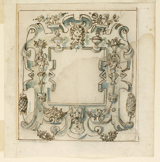 Strapwork with harpy candelabrum, swags and masks frame a square panel at center