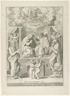 The Coronation of the Virgin: Virgin and Christ seated at center, flanked by two angels who draw back curtains. God the Father in upper register. Saint Jerome at right, with lion. At left, Saint John the Baptist. Two putti in foreground.