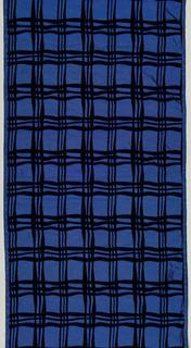 Blue taffeta with a plaid formed by black velvet.