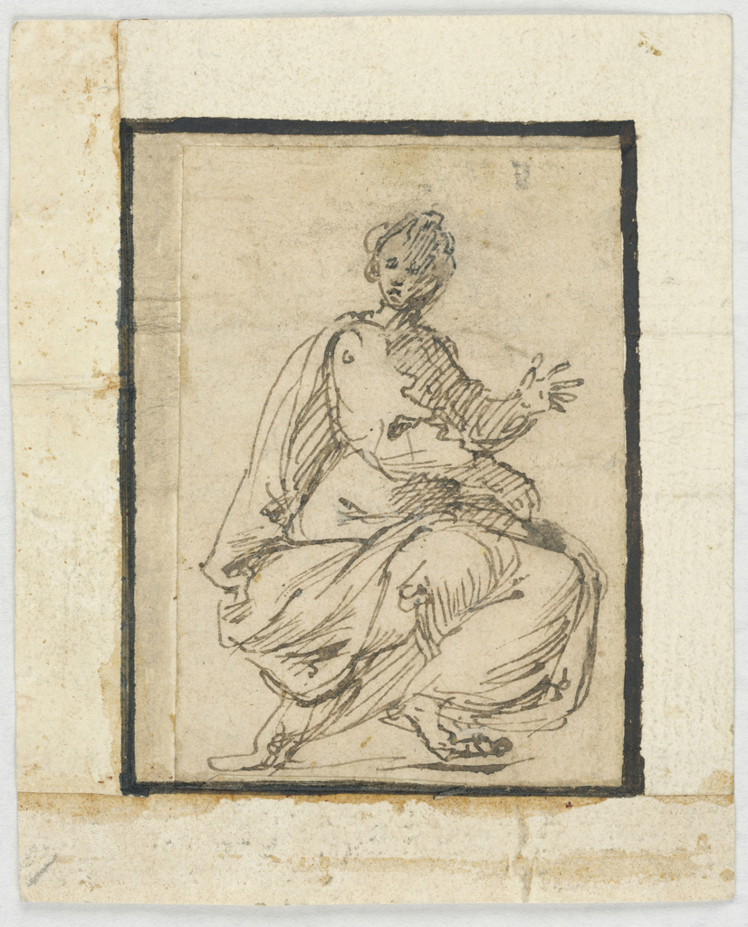 A  seated woman shown in profile; her left hand raised, the right hand holds a book.