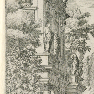 A set design for an opera.  Three individuals stand at the center of a statue garden.  Along the sides are walls with vines and trees and pairs of statues on pedestals in front.  AT center a fountain behind the individuals and in the foreground a wall that wraps around and meets at the center of a two tiered monument with central arches, columns on either side and a pediment sitting on top.