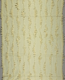 Length of heavy, off-white fabric with sheer vertical stripes created by spacing the warps and leaving weft floats of varied lengths.