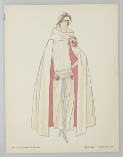 Center woman stands draped in a cream cape with pink lining, the thick cowl neck collar is clasped by a rose. Underneath she wears a matching drop waist dress with rose decorated sash and hat.