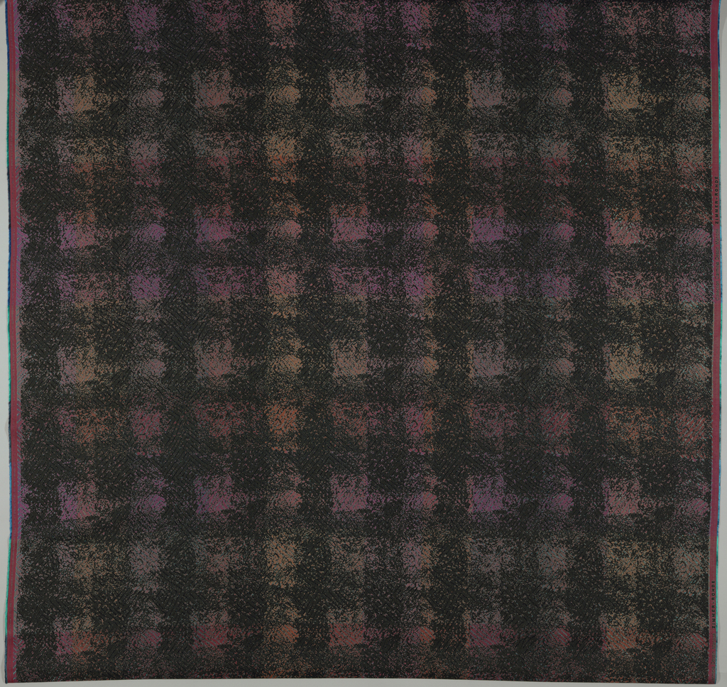 Dispersed texture printed on a jacquard woven ground cloth with a diamond design of shiny viscose wefts