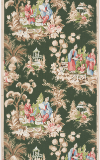 Chinese motif of pagoda and people in Chinese dress in grey, pink, and blue and green on a beige ground.