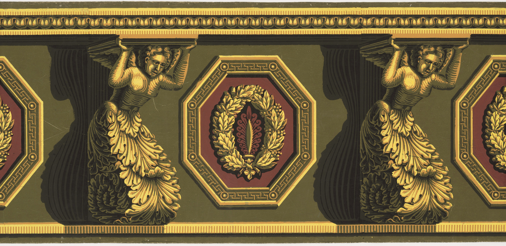 """Yellow consoles in the form of winged putti with acanthus bases support a cornice. Alternating with these figures are vertical octagons, green, yellow and red, containing wreaths. Heavy chiaroscuro. """"d"""" and """"e"""" are incomplete repeats."""