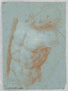 The slightly sketched hand of Christ hangs toward the left shoulder.