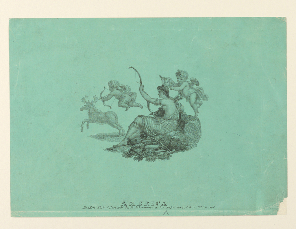 """Horizontal rectangle. """"America"""" is seated on a rock, seen in profile, dressed in Indian costume and carrying a bow and arrows. A winged cupid crowns her with a feahered headdress. Another cupid shoots an arrow at a stag to left. Caption below: """"America London Pub. 1 Jan 1801..."""""""