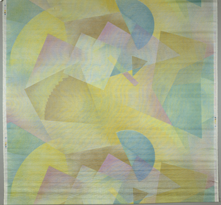 Intersecting and overlapping geometric shapes. a, predominantly blue and peach. b,pastels,predominantly beige. c, predominantly yellow. all in 7 colors.