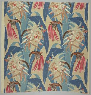 Flowers and fruit of tropical plants with large leaves; printed in shades of blue, red, green, and tan on natural linen.