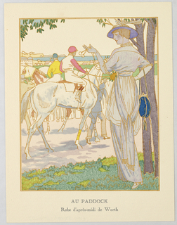 In an exterior scene, a figure of a woman stands in the grass leaning against a tree, modeling a dress by House of Worth, a feathered hat, and a blue purse.  In her gloved hand hangs a pair of spactacles used to observe the men on horseback racing in the derby at the Paddock. In the distance is a seascape.