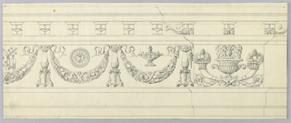 Horizontal rectangle showing entablature with consoles below the cornice. In the frieze, festoons are supported by candelabra. Above them, a terrine and a roundel with flaming heart at center. At left, a half drawn mitre, book and archbishop cross rod. At right, above a suggested pilaster, a vase with cornucopia.