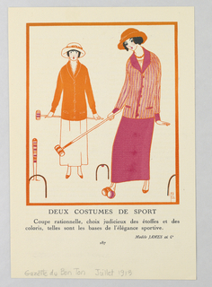 The caption reads: DEUX COSTUMES DE SPORT/ Coup rationnelle choix judicieux des étoffes et des coloris, telles sont les bases de l'élégance sportive (Two sports costumes).  Two women stand together playing croquet.  Center left, woman stands with shocked expression holding a croquet mallet, sporting an orange buttoned sport blazer atop white dress with matching brimmed hat with orange floral accents.  Center right, a woman prepares to hit the balls, she wears a similar orange and pink stripped sporting blazer with white blouse and floor length pink skirt and matching orange brimmed hat.