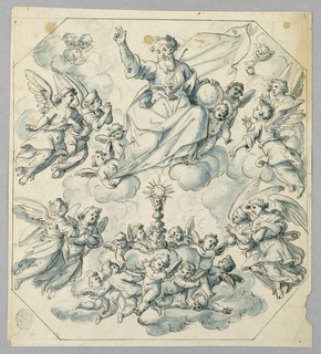 Octagonal frame of a heavenly scene with the Father and dove. Below, a monstrance surrounded by angels and cherubs.