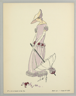 On cream ground, a figure of a woman stands in an off-shoulder drop-waist pink floor-length dress with mauve and pink floral applique and ruffles at the hem of the sleeves and skirt. In her white-gloved hands she holds a matching parisol and sports a similarly decorated wide-brimmed sun-hat with floral accents. Flower petals at her feet.
