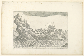 Print, From a Series of Naval Battles for Wedding Festivities of Cosimo Il de'Medici, Ship of Neptune