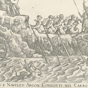 The ship of Neptune decorated with shells on the far right  is led by two sea horses on the far left.  In the center, winged male figures with oars row the ship.  To the right of these figures are a group of male soldiers.