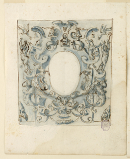 Strapwork design with putti, bears and birds surrounds an oval reserve.