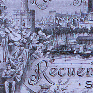 """Souvenir handkerchief showing six vignettes from Seville including the Cathedral, La Giralda, a flamenco performance, livestock, and a row of marquee tents. Made for the Seville April Fair. Includes the text: """"Ferias y Fiestas"""" and """"Recuerdo de Sevilla."""""""